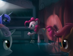 Size: 1540x1190 | Tagged: dead source, safe, artist:raikoh, pinkie pie, princess luna, scootaloo, sweetie belle, alicorn, earth pony, pegasus, pony, unicorn, eye contact, female, filly, joke, looking at each other, mare, mop, performer, stage, stand-up comedy