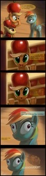 Size: 1080x4061 | Tagged: safe, artist:raikoh, apple bloom, applejack, rainbow dash, earth pony, pegasus, pony, apple, apple hat, brain, burns baby burns, cider, comic, crossover, female, filly, hat, mare, paint tool sai, the simpsons