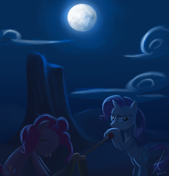 Size: 864x900 | Tagged: safe, artist:raikoh, pinkie pie, rarity, earth pony, pony, unicorn, the last roundup, annoyed, duo, eyes closed, female, hand car, mare, moon, night