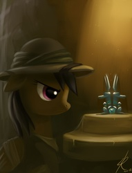 Size: 800x1045 | Tagged: dead source, safe, artist:raikoh, daring do, pegasus, pony, bandage, female, floppy ears, hat, mare, paint tool sai, pith helmet, ruins, sapphire statue, solo