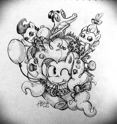 Size: 730x770 | Tagged: dead source, safe, artist:discommunicator, gummy, pinkie pie, pound cake, pumpkin cake, earth pony, pegasus, pony, unicorn, baby, baby pony, balloon, cake twins, candy, female, grayscale, lollipop, mare, monochrome, one eye closed, traditional art
