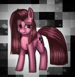 Size: 633x647 | Tagged: safe, artist:mewball, pinkie pie, earth pony, pony, abstract background, crying, female, mare, photoshop, pinkamena diane pie, sad, simple background, solo