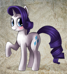 Size: 674x744   Tagged: safe, artist:mewball, rarity, pony, unicorn, abstract background, blushing, female, mare, raised hoof, smiling, solo