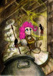 Size: 750x1062 | Tagged: safe, artist:foxinshadow, pinkie pie, human, friendship is witchcraft, brew, cauldron, clothes, dress, female, gypsy magic, humanized, romani, solo, steampunk