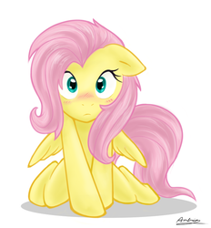 Size: 600x646 | Tagged: safe, artist:ambris, fluttershy, pegasus, pony, adobe imageready, blushing, covering, cute, female, floppy ears, hnnng, kneeling, looking at you, mare, shyabetes, simple background, solo, white background