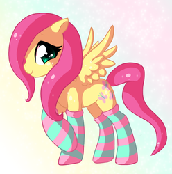 Size: 800x807 | Tagged: dead source, safe, artist:xnightmelody, fluttershy, pegasus, pony, abstract background, adobe imageready, clothes, female, mare, socks, solo, striped socks