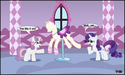 Size: 2067x1248 | Tagged: artist:toxic-mario, carousel boutique, clothes, dress, duo, duo female, female, filly, mannequin, mare, pony, ponyquin, raised hoof, rarity, safe, sweetie belle, unicorn, window
