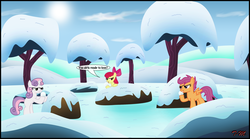 Size: 2299x1275 | Tagged: apple bloom, artist:toxic-mario, cutie mark crusaders, earth pony, female, filly, pegasus, pony, safe, scootaloo, snow, snowball, sweetie belle, tree, trio, trio female, unicorn, wallpaper
