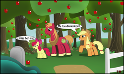 Size: 2500x1500 | Tagged: apple, apple bloom, applejack, artist:toxic-mario, big macintosh, earth pony, family, female, filly, grave, male, mare, photoshop, pony, sad, safe, stallion, tree, trio