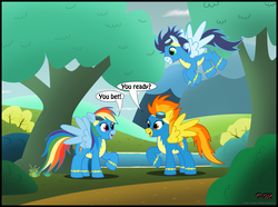 Size: 2125x1581 | Tagged: artist:toxic-mario, female, hilarious in hindsight, male, mare, pegasus, pony, rainbow dash, safe, soarin', spitfire, stallion, trio, wonderbolts, wonderbolts uniform