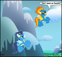Size: 1486x1360 | Tagged: artist:toxic-mario, duo, female, flying, male, mare, mountain, pegasus, pony, safe, soarin', spitfire, stallion, wonderbolts