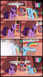 Size: 1978x3532 | Tagged: artist:toxic-mario, book, comic, duo, duo female, female, filly, foal, golden oaks library, library, magic, mare, pegasus, photoshop, pony, rainbow dash, safe, twilight sparkle, unicorn, unicorn twilight