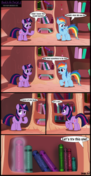 Size: 1714x3299 | Tagged: artist:toxic-mario, book, comic, duo, duo female, female, filly, foal, golden oaks library, library, pegasus, photoshop, pony, rainbow dash, safe, twilight sparkle, unicorn, unicorn twilight