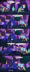 Size: 2491x5922 | Tagged: safe, artist:toxic-mario, princess luna, rainbow dash, alicorn, pegasus, pony, clothes, comic, costume, duo, duo female, female, horseshoes, mare, nightmare night, photoshop, shadowbolt dash, shadowbolts, shadowbolts costume