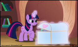 Size: 1589x959 | Tagged: safe, artist:toxic-mario, smarty pants, twilight sparkle, pony, unicorn, book, chest, female, golden oaks library, library, magic, mare, solo, unicorn twilight