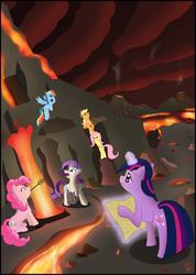 Size: 2514x3537 | Tagged: safe, artist:toxic-mario, applejack, fluttershy, pinkie pie, rainbow dash, rarity, twilight sparkle, earth pony, pegasus, pony, unicorn, female, food, high res, lava, magic, magic aura, mane six, mare, marshmallow, telekinesis, unicorn twilight, volcano