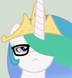 Size: 486x525 | Tagged: safe, artist:toxic-mario, princess celestia, alicorn, pony, anatomically incorrect, female, glasses, gray background, hipster, mare, photoshop, simple background, solo