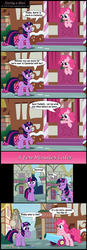 Size: 1946x5597 | Tagged: artist:toxic-mario, comic, duo, duo female, earth pony, female, mare, party cannon, photoshop, pinkie pie, pony, safe, sugarcube corner, twilight sparkle, unicorn, unicorn twilight