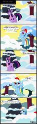 Size: 1272x4248 | Tagged: safe, artist:toxic-mario, rainbow dash, twilight sparkle, pegasus, pony, unicorn, clothes, comic, duo, duo female, female, hat, mare, photoshop, santa hat, scarf, snow, unicorn twilight