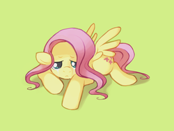 Size: 921x691 | Tagged: safe, artist:karzahnii, fluttershy, pegasus, pony, crying, female, floppy ears, looking at you, lying down, mare, prone, sad, simple background, solo, spread wings, tear streaks