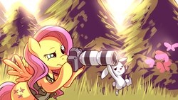 Size: 1920x1080 | Tagged: safe, artist:karzahnii, angel bunny, fluttershy, butterfly, pegasus, pony, rabbit, aiming, animal, bipedal, camera, clothes, crepuscular rays, duo, fanon, featured image, female, frown, grass, hoof hold, lanyard, looking at you, mare, outdoors, photographer, raised eyebrow, spread wings, tall grass, tree, unamused, vest, wallpaper