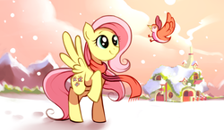 Size: 1024x600 | Tagged: safe, artist:karzahnii, fluttershy, bird, pegasus, pony, 12 days of christmas, clothes, female, fluttershy's cottage, mare, mountain, raised hoof, scarf, snow, snowfall, solo, twelve days of christmas, winter