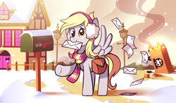 Size: 1024x600 | Tagged: safe, artist:karzahnii, derpy hooves, pegasus, pony, 12 days of christmas, accident, christmas, clothes, crash, crossover, cute, derpabetes, earmuffs, featured image, female, fence, fire, lamppost, letter, mail, mailbox, mailmare, mare, mouth hold, scarf, smiling, smoke, snow, snowfall, solo, spread wings, team fortress 2, twelve days of christmas, winter