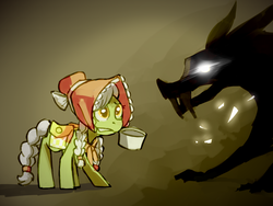 Size: 1400x1050 | Tagged: safe, artist:karzahnii, granny smith, earth pony, pony, timber wolf, family appreciation day, female, filly, mouth hold, pot, scared, young granny smith, younger