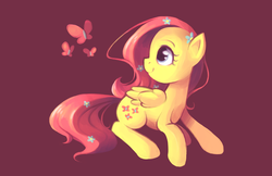 Size: 2040x1320 | Tagged: safe, artist:karzahnii, fluttershy, butterfly, pegasus, pony, female, flower, flower in hair, happy, looking back, mare, prone, simple background, sitting, solo