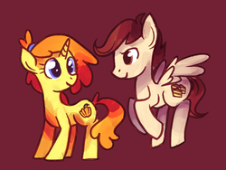 Size: 1024x768 | Tagged: safe, artist:karzahnii, pound cake, pumpkin cake, pegasus, pony, unicorn, adult, brother and sister, cake twins, colt, duo, female, filly, male, mare, older, older pound cake, older pumpkin cake, red background, siblings, simple background, stallion, twins