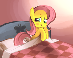 Size: 1152x921 | Tagged: safe, artist:karzahnii, fluttershy, pegasus, pony, bed, blushing, covering, cute, embarrassed, female, fluttershy sleeps naked, mare, pillow, shyabetes, solo, we don't normally wear clothes