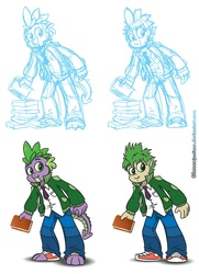 Size: 1000x1379 | Tagged: safe, artist:glancojusticar, spike, dragon, human, book, clothes, human spike, humanized, male, shoes, simple background, sneakers, solo