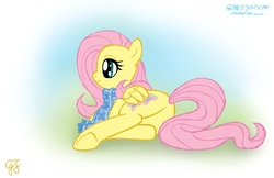Size: 1300x840 | Tagged: safe, artist:glancojusticar, fluttershy, butterfly, pegasus, pony, butt, clothes, cute, female, flutterbutt, gradient background, mare, plot, profile, prone, scarf, shyabetes, smiling, solo, tail, underhoof