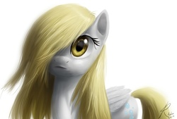 Size: 1152x778 | Tagged: safe, artist:raikoh, derpy hooves, pegasus, pony, epic derpy, female, hair over one eye, mare, photoshop, simple background, solo, white background