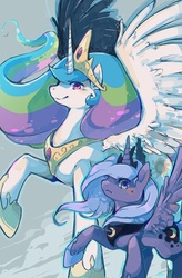 Size: 626x957 | Tagged: safe, artist:mi-eau, princess celestia, princess luna, alicorn, pony, duo, duo female, female, mare, photoshop, raised hoof, royal sisters, s1 luna, spread wings