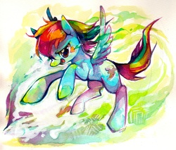 Size: 1477x1259 | Tagged: safe, artist:mi-eau, rainbow dash, pegasus, pony, abstract background, action pose, color porn, eyestrain warning, female, flying, mare, photoshop, solo, traditional art, watercolor painting