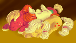 Size: 1000x571 | Tagged: safe, artist:sb, apple bloom, applejack, big macintosh, earth pony, pony, apple family, apple siblings, cuddle puddle, cuddling, cute, eyes closed, family, female, filly, hair over one eye, hatless, male, mare, missing accessory, prone, side, sleeping, smiling, stallion