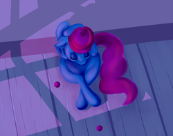 Size: 1000x789 | Tagged: artist:sb, cup cake, earth pony, eyes closed, floor, pony, safe, sitting, solo