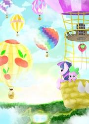 Size: 1800x2500 | Tagged: dead source, safe, artist:jesrartes, applejack, big macintosh, fluttershy, pinkie pie, rainbow dash, rarity, spike, twilight sparkle, dragon, earth pony, pegasus, pony, unicorn, balloon, female, hot air balloon, male, mane six, mare, paint tool sai