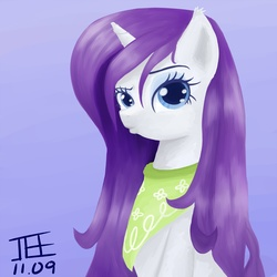 Size: 2000x2000 | Tagged: dead source, safe, artist:jesrartes, rarity, pony, unicorn, alternate hairstyle, bandana, bedroom eyes, duckface, female, fluffy, high res, kerchief, looking at you, mare, paint tool sai, pouting, raised eyebrow, solo, wet, wet mane, wet mane rarity