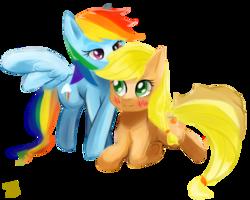 Size: 1500x1200 | Tagged: dead source, safe, artist:jesrartes, applejack, rainbow dash, earth pony, pegasus, pony, appledash, blushing, crossed hooves, female, lesbian, mare, shipping, simple background, transparent background, whispering