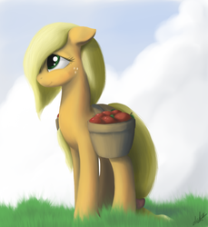 Size: 970x1058 | Tagged: safe, artist:zlack3r, applejack, earth pony, pony, apple, female, floppy ears, gimp, hair over one eye, mare, solo