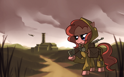 Size: 1920x1200 | Tagged: safe, artist:karzahnii, pinkie pie, earth pony, pony, ak-47, bag, clothes, crossover, female, gun, helicopter, mare, s.t.a.l.k.e.r., solo, weapon