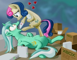Size: 1200x931   Tagged: safe, artist:gsphere, bon bon, lyra heartstrings, sweetie drops, earth pony, pony, unicorn, artifact, boxes, consoling, context is for the weak, eye contact, fat, feeder, feeder bon bon, feeding, female, first picture for fat, force feeding, heart, lesbian, lyra feedee, lyrabon, mare, not salmon, object vore, on back, open mouth, parody, photoshop, red ring of death, shipping, smiling, stuffing, wat, wide eyes, xbox, xbox 360