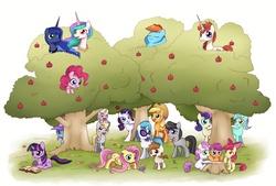 Size: 3400x2300 | Tagged: safe, artist:solar-slash, apple bloom, applejack, bon bon, derpy hooves, dinky hooves, dj pon-3, fluttershy, lyra heartstrings, octavia melody, pinkie pie, pipsqueak, princess celestia, princess luna, rainbow dash, rarity, scootaloo, sweetie belle, sweetie drops, trixie, twilight sparkle, vinyl scratch, oc, oc:fausticorn, alicorn, earth pony, pegasus, pony, unicorn, apple, apple tree, book, bow, colt, cutie mark crusaders, equestria's best mother, everypony, female, filly, floppy ears, flower, food, hair bow, hiding, high res, lauren faust, male, mane six, mare, paint tool sai, reading, sitting in a tree, spying, tree, tree stump, unicorn twilight