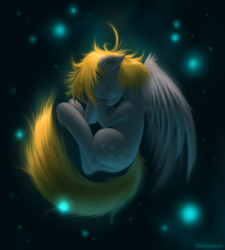 Size: 3000x3333 | Tagged: dead source, safe, artist:swaetshrit, derpy hooves, pegasus, pony, crying, detailed, epic derpy, eyes closed, female, fetal position, floppy ears, fluffy, high res, mare, messy mane, sad, solo, spread wings