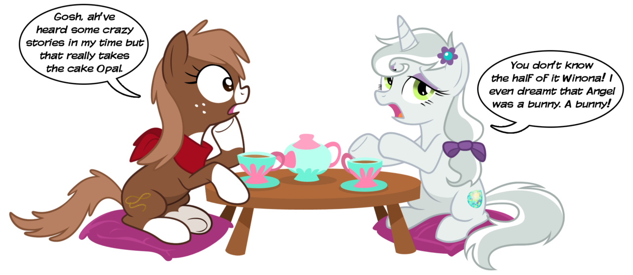 2943 Safe Artist Equestria Prevails Opalescence Winona Earth Pony Pony Unicorn Alternate Universe Bandana Bow Duo Female Hair Bow Implied Angel Bunny Mare Pet Pillow Ponified Ponified Pony Pets Simple Background Sitting Socks