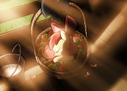 Size: 1000x718   Tagged: safe, artist:willdrawforfood1, apple bloom, earth pony, pony, adorabloom, apple, apple bloom's bow, apple core, basket, bow, bucket, crepuscular rays, cute, daaaaaaaaaaaw, eyes closed, featured image, female, filly, hair bow, hnnng, newborn, photoshop, pony in a basket, prone, sleeping, smiling, solo, weapons-grade cute