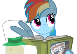 Size: 4009x2814 | Tagged: safe, artist:donaldmaniak, daring do, rainbow dash, pegasus, pony, read it and weep, book, daring do book, female, holding a book, hoof hold, mare, reading, simple background, solo, transparent background