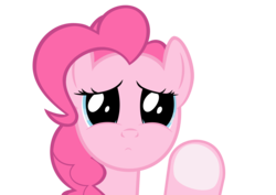 Size: 2822x1994 | Tagged: safe, artist:misterbrony, pinkie pie, earth pony, pony, against glass, female, fourth wall, looking at you, mare, paint.net, puppy dog eyes, sad, simple background, solo, transparent background
